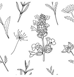 floral monochrom seamless pattern vector image