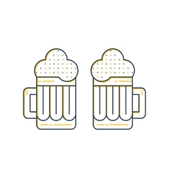 Foamy beer mugs linear icon vector