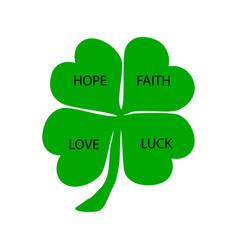 Four-leaf clover hope faith love luck st vector