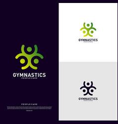 fun people healthy logo design concept gymnastics vector image