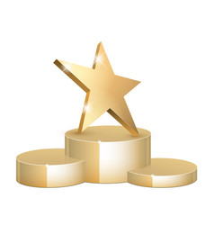 Golden 3d star with 3d star with highlights vector