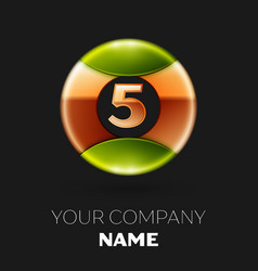golden number five logo symbol in the circle vector image