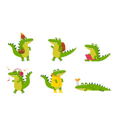 Green alligarots with different emotions in vector