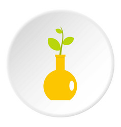 Green plant in a yellow vase icon circle vector