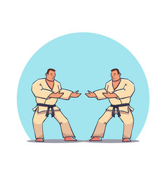 hand drawn character two mans in kimono vector image