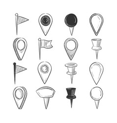 Hand drawn doodle navigation pins set vector