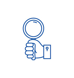 Hand with magnifier line icon concept hand vector