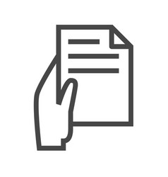 Hand with paper thin line icon vector