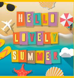 hello summer web banner background beach vector image