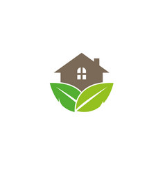 home forest with leaves and house plant vector image