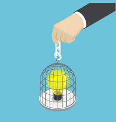 isometric businessman hand holding birdcage with vector image