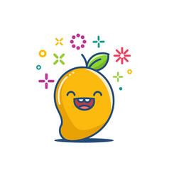 Kawaii smiling mango emoticon cartoon vector
