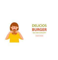 Kid biting burger fast food vector