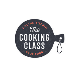 Kitchen cutting board logo for cooking class vector