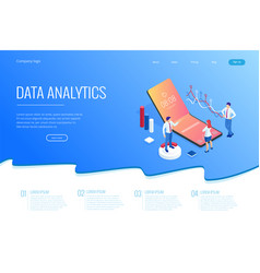 Landing page with isometric business and finance vector