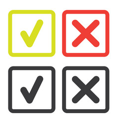 line green check mark or check box icons set vector image