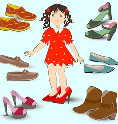 little girl trying on big shoes a lot of different vector image