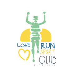 Love run sport club logo symbol colorful hand vector