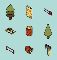 lumberjack flat outline isometric set vector image