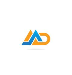 M d initial shape colored logo vector