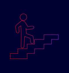 man on stairs going up line icon with vector image
