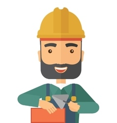 Mason man with trowel in hand vector image