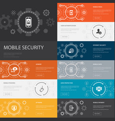 Mobile security infographic 10 line icons banners vector