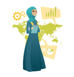 Muslim business woman working in global business vector