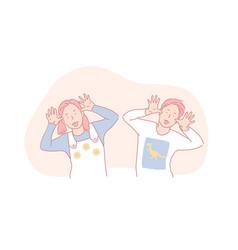 naughty behaviour fooling around childhood fun vector image