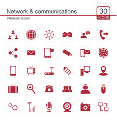 network and communication icons set vector image