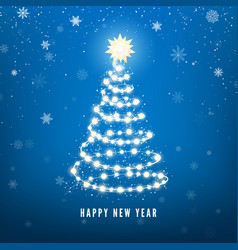 new year tree silhouette made christmas lights vector image