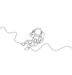 One single line drawing astronaut flying relax vector