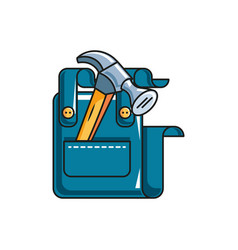 Overall uniform with hammer tools isolated icon vector