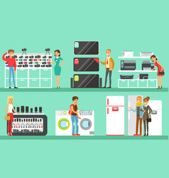 people shopping in a mall set men and women vector image