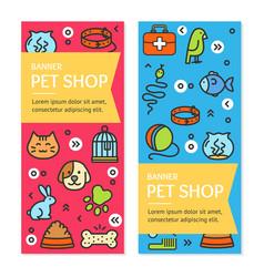 pet shop flyer banner placard set vector image