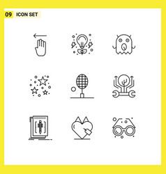 Pictograph set 9 simple outlines table vector