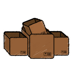 Pile boxes carton delivery service vector
