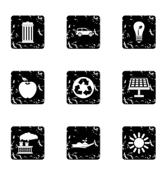 Purity of nature icons set grunge style vector