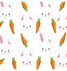Rabbit and carrots background vector