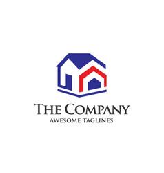 real estate development with arrow logo concept vector image