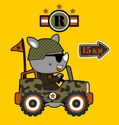 Rhinoceros army driving military jeep cartoon vector