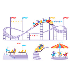 Roller coaster icon set vector