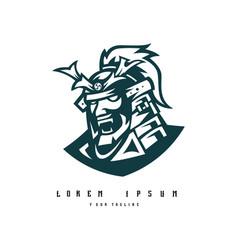 samurai logo design black and white version vector image