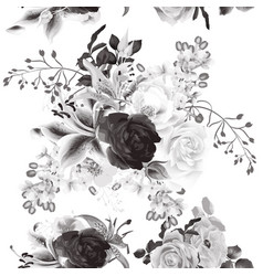 Seamless background with roses in b and white vector