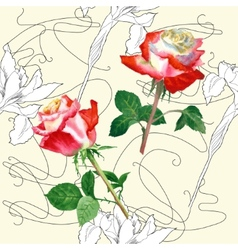 Seamless Pattern with Rose-04 vector image