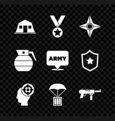 Set military barracks reward medal japanese vector