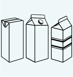 Set of boxes for milk and juice vector