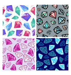 set seamless diamonds patterns jewelry vector image