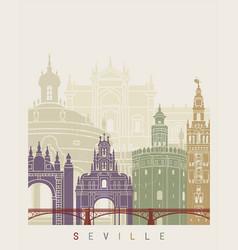 Seville v2 skyline poster vector