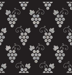 Silver textured seamless pattern of grapes vector